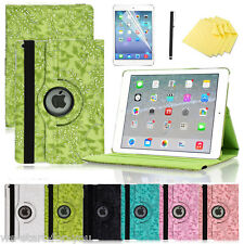 * 360 ° funda protectora + lámina iPad Air 1 piel sintética bolso Smart Cover Case 6-flores *