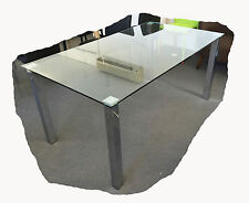 Kia 1600x900 Chrome & Tempered Clear Glass Dining Table  - BRAND NEW