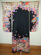 Elegant Hand Painted Black Silk Kakeshita Wedding Furisode w/ Gold Couching