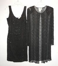 Papell Boutique Evening 2 Piece Silk Dress with Long Jacket sz 6 Black Beaded
