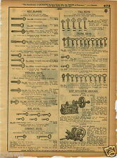 1921 PAPER AD Segal Russwin Hand Powered Key Cutting Duplicating Machine