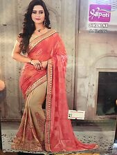 Indian Satin Saree Bollywood Party Wear Diwali Sari Dress Material Peach Beige