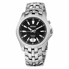 Seiko Men's Perpetual Calendar Date Stainless Steel Black Dial 100M Watch SNQ101