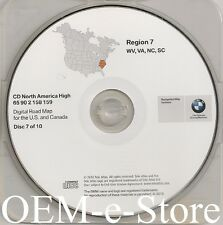1997 to 2002 BMW 7 5 3 Series M3 M5 X5 Navigation CD Map #7 Cover WV VA NC SC
