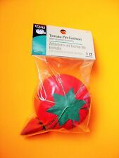"Dritz Red Tomato Pin Cushion - 2 1/2"" diameter With a Strawberry Emery Sharpener"