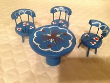 Miniature Wooden Blue Hand Painted Table & Chairs Set of Three
