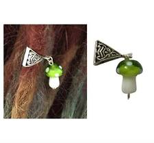 Lime Glass Mushroom Dread Dreadlock Bead Hair Plait Boho Hippie Festival - MU1