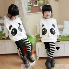 2pcs Toddler Girls Outfits Panda Coat+Striped Pants Kids Clothes Set 2-7 years