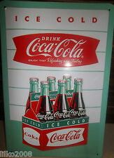 COCA COLA/ COKE 6 pack BOTTLES: EMBOSSED (3D) METAL SIGN, 30X20CM/ 12X8 INCHES