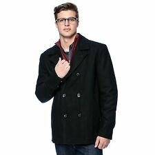 NEW Black Rivet Men's BLACK XL Double Bread Classic Wool Peacoat