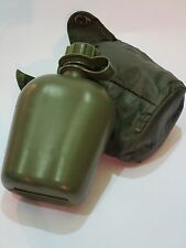 Army Water Bottle Olive Green 500ml w/ Case and Belt Clips Camping Festival (LB)