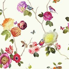 889801 Charmed White Stunning Flower & Bird bright colour wallpaper by Arthouse