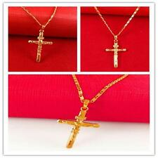 1x Gold Filled Small Jesus Crucifix Cross Pendant Necklace Chain For Everyone FB