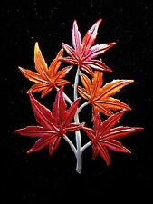 """JJ"" Jonette Jewelry Silver Pewter 'Colorful JAPANESE MAPLE' Pin"