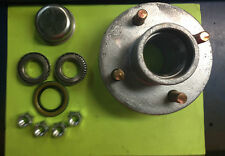 "(2) Boat or Utility Trailer Galvanized Hub Kit  4 Bolt Lug 1"" bearings"