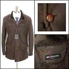 New KITON Italy Solid Brown Leather Shearling Fur 4Btn Coat Jacket 50 M NWT $10K