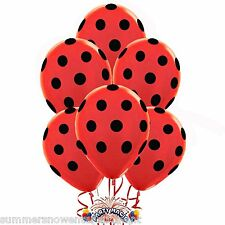 "Red With Black Dot Polka Dot  Set of (10) 11"" Qualatex Latex Balloons"