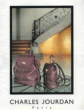 ▬► PUBLICITE ADVERTISING AD Charles JOURDAN Sac Bag 1985