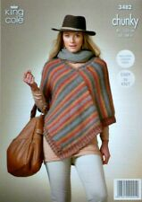 KNITTING PATTERN Ladies Easy Knit V-Neck Pointed Poncho Chunky 3482