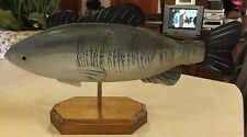 HAND PAINTED WOOD CARVING LARGE MOUTH BASS WITH METAL FINS BY D. MCLAUGHLIN 1986