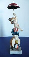 Simonetti Clown Figurine Red White Blue Bathing Suite Carrara Marble Base  Italy