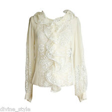 ICONIC GORGEOUS 2DIE4 Oscar de la Renta ivory silk/ lace ruffling dress blouse