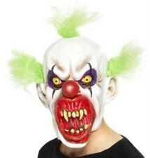 Scary Evil Clown Overhead Latex Mask With Green Hair Halloween Fancy Dress P6866