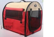 """27"""" Pet Dog/Cat Carrier Travel Bag Crate Tent Cage Folding w/Case Red Beige"""