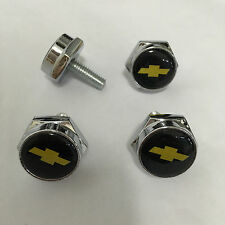 4 pcs Car License Plate Frame Fastener Screw Caps Bolt Covers For Chevrolet Yell