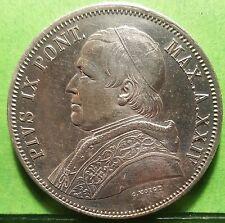 Rare , XF+ ,  ITALY  VATICAN   5  Lire 1870 R ,  PIVS IX ,  Silver