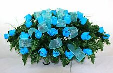 Beautiful Turquoise Roses Silk Flower Cemetery Tombstone Saddle with Deco Mesh