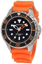 Nautica N18633G Mega Pro Diver Black Dial Orange Rubber Strap Men's Dive Watch