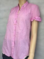 CALIBAN ~ LILAC PINK COTTON BUTTONED TOP BLOUSE, LACE EDGING - SIZE 48