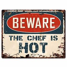 PP0975 Beware The Chef is HOT Plate Rustic Chic Sign Home Store Wall Decor Gift