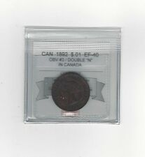 "**1892 Obv.#4 Dbl ""N""**,Coin Mart Graded Canadian, Large One Cent, **EF-40**"