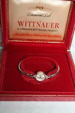 "LADIES' Vtg Wind-up LONGINES WITTNAUER 7"" Diamond Deb Watch Orig Box Case"