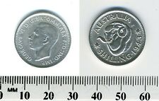 Australia 1943 S - 1 Shilling Silver Coin - King George VI - WWII mintage - #21
