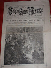 ANTIQUE NEWSPAPER FRANK LESLIE'S BOYS AND GIRLS WEEKLY 1874 AMERICAN INDIAN