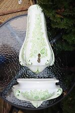 Midcentury Large Rare Vintage Italy Wall Pocket Fountain Green Floral Porcelain