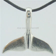 16782 Vintage Alloy Beach Whale's Tail Dolphin Pendant Choker Short Necklace 17""