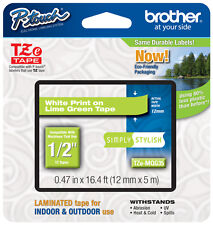 "Brother 1/2"" (12mm) White on Lime Green P-touch Tape for PT2100, PT-2100 Printer"