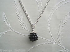 *CUTE BLACKBERRY CHARM* Silver Plated Necklace Chain GIFT POUCH Berry Fruit