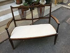 Edwardian Mahogany Two Seater Chaise - Chair - Window Seat - bone inlay