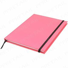 160 Pg Notebook W/ Strap A5 Hardback ~NEON PINK~ Lined Journal/Diary/Note Book