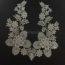 Pair Mirror White Flower Lace Floral Motif Applique Sewing Venise Trim Craft