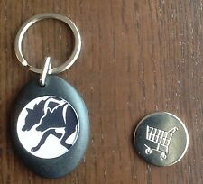 PERSONALISED SLED DOG SPIRIT HUSKY SHOPPING TROLLEY LOCKER COIN KEYRING SIBE MAL