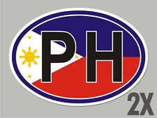 2 Philippines PH OVAL stickers flag decal bumper car window code sticker CL046