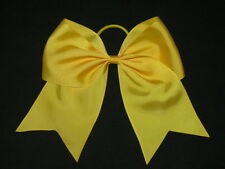 "NEW ""GOLD YELLOW"" Cheer Bow Pony Tail 3 Inch Ribbon Girls Hair Bows Cheerleading"