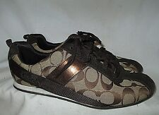 "NICE Canvas Brown Signature/Suede COACH ""HADLEY"" Lace Sport Tennis Shoes 8.5 M"