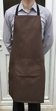 Vente En Gros Job Lot 10 brand new brown Bib tabliers avec pocket cafe travail cater chef